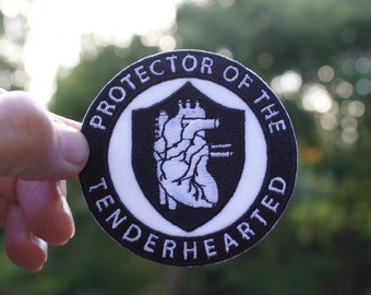 PROTECTOR of THE TENDERHEARTED patch, accessories  iron on patch, anatomical heart, gifts , tender heart, unique gifts, pins and buttons