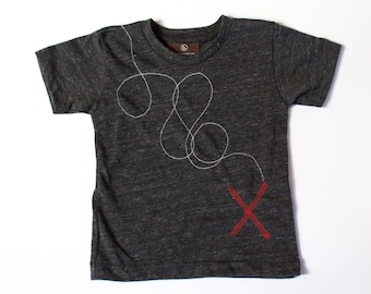 X Marks the Spot, clothing, top,  baby,  toddler,  boy, t-shirt, pirates, treasure map, unique baby gift, modern kids clothing, birthday tee