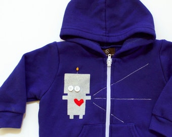 LOVEBOT the RADIATING ROBOT, toddler and baby hoodie, valentine's day top, baby sweatshirt, robot, beep boop, boys sweatshirt, handmade kids