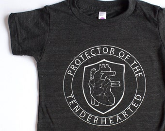 PROTECTOR of the TENDERHEARTED, clothing, tops, kids, toddler, anatomical heart, handprinted, modern kids clothing, unique gifts for kids