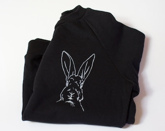SIR HOPKINS, clothing, tops, toddler, kids, boys, girls, easter outfits, modern kids, bunny, rabbit, black and white, handprinted bunny top