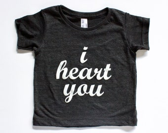 I HEART YOU | kids valentine's shirt | baby, toddler and youth shirt | monochrome modern unisex kids t | baby toddler hipster tee shirt