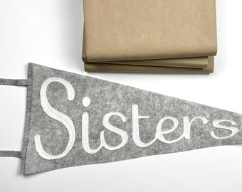 SISTERS wool pennant flag, Wall hanging, Girls room decor,  Gift for big sister, Kids room decor, Banner, Gray and White, Art for kids room