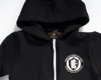 sale, PROTECTOR of THE TENDERHEARTED, clothing, tops, boys, girls, sweatshirt, hoodie,  black and white, patch, tenderhearted, anatomical