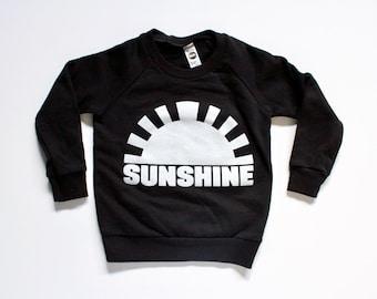 unisex toddler clothing, kids sweatshirt, boys, girls, sunshine shirt, black and white modern graphic tee, PNW sunshine
