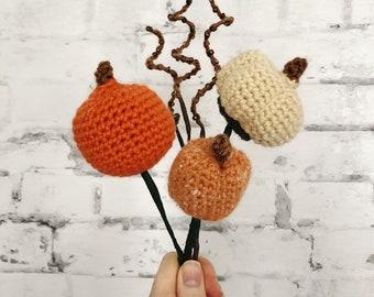 Three Mini Pumpkin Wreath Picks Fall Crochet Pattern - Autumn - Thanksgiving Crochet Pattern - PDF INSTANT DOWNLOAD