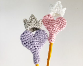 Princess Crown Heart Crochet Pattern - Pencil Topper - DIY Valentines Day - yarn bombing - birthday favor - Teacher Gift