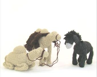 Camels and Donkey Crochet Patterns -Christmas Nativity Pattern - Creche Crochet Pattern - PDF - Cuddle Bug Kids Crochet Patterns