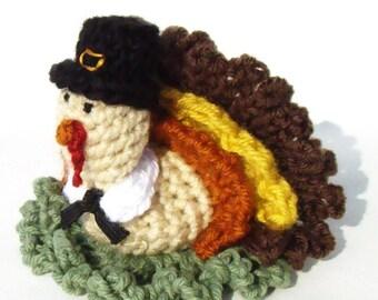 Fall Crochet Pattern - Thanksgiving Crochet Pattern - Crochet Turkey - Crochet Pilgrim - Bath Scrubbie Pattern - PDF INSTANT DOWNLOAD