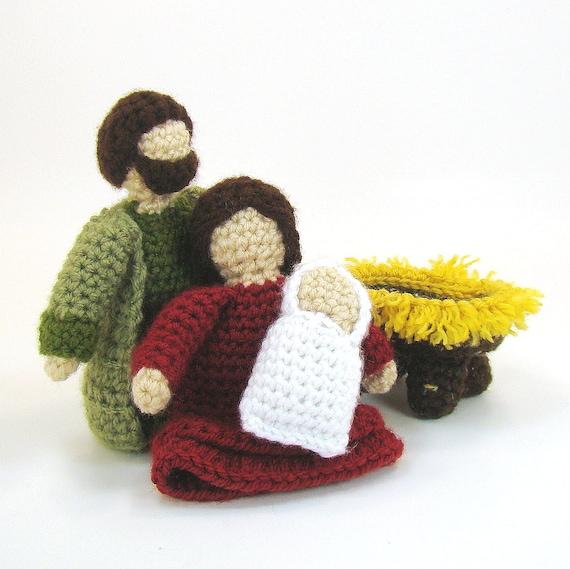 Nativity Crochet Pattern Baby Jesus manger Mary and Joseph