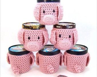 Pint Ice Cream Cozy - Crochet Pattern - Crochet Pig and Piglet