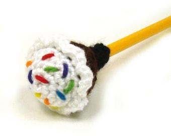 Cupcake Pencil Topper - Eraser Cover - Birthday Decor - Crochet Cupcake Pattern - add fidget - yarn bomb pattern - PDF INSTANT DOWNLOAD