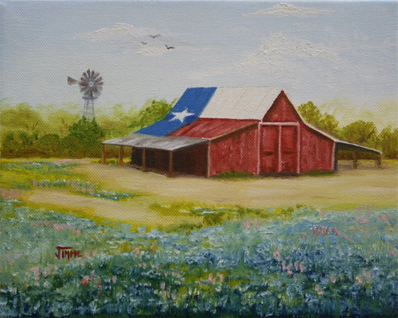 Texas Hill Country Barn Print Of A Painting By Jimmie Etsy