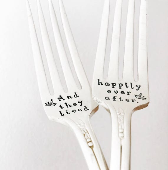 Happliy ever after vintage silver plate wedding fork set. Personalised, custom unique keepsake engagement couples gift idea. Fairytale