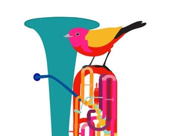 Music art print - Tuba - musical instrument, bird art print, Gift for Music Lover, Music Decor, Music Wall Art, Classical Music Poster