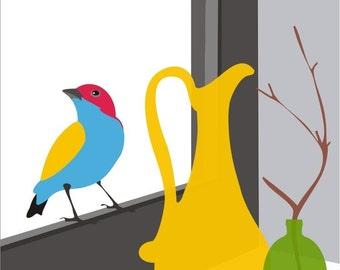 colorful Bird art print  -In the window -giclee art print illustration poster decor,whimsical art,Illustration print,Art Print,bright colors