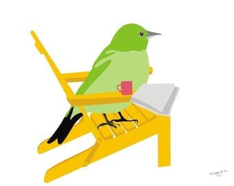 Bird art print  - One Morning - Foyer Family Room Wall Art,Nursery Printable,Bird Wall Art,Nursery Bird Print,Pretty Bird Print,green yellow