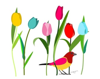 Tulip Print - Tulip Forest - Bird print, Floral Wall Decor, tulip and bird Wall Decor, Floral Print, Gallery Wall, Inspirational print