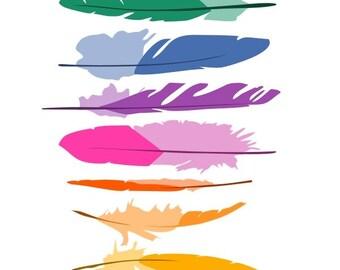 Feathers nursery art print - Colorful feathers - Child's Room, Baby decor, playroom decor, Boys Girls Nursery Decor, colorful illustration