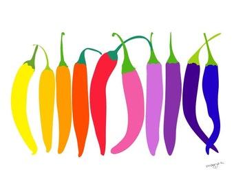 Kitchen Art, Chili print, Chili art, Vegetable Art, Kitchen Wall Decor, Food Poster, Food Art, Food Illustration, Food Print, Art Prints