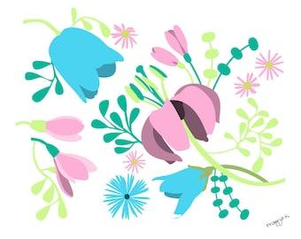 Floral Illustration - Night Flight - Flower Wall Decor,flower illustration,Pink blue mint wall art,Floral Home Decor,Colorful Print Wall Art