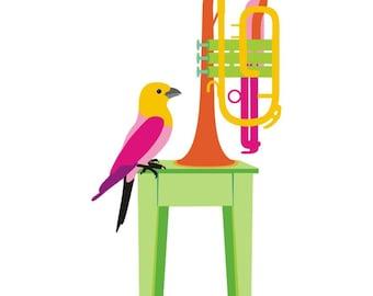 Music art print - Cornet - colorful musical instrument,bird wall art,Music Wall Art,Rock and Roll art print,Music art print,Musician Gift,