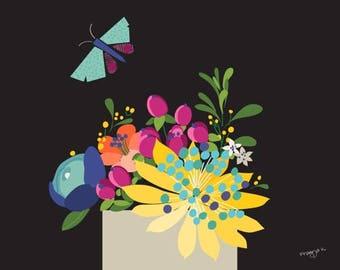 Flower Wall Art Print - Blooms in dark - Colorful Wall Art, Colorful Wall Decor, Abstract Flower bouquet, Floral Art Print, Kid Wall Decor