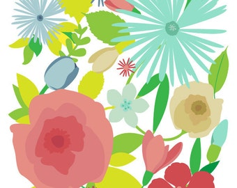 Flower art print - Morning Glory - Flower print, Giclee Print, Colorful Print Wall Art,Floral Art Print,Modern Nursery Art,red mint Flower