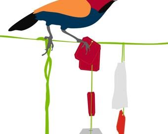 Kitchen art, Tea print - Dip dip - bird art, Wall Art Print,Tea Art Print, Art for Kitchen, Gift for Tea Lover, Home Decor Art Print
