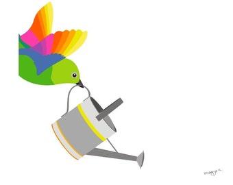 Bird art print - The Bird Gardener - art prints for kids,art illustration,wall decor art print,prints illustrations,wall prints,wall art,