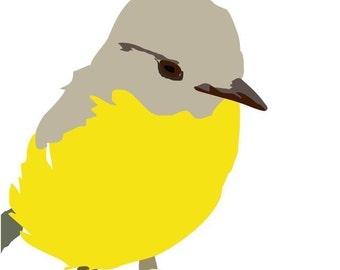 Nursery art print - Summer's bird - Bird art print, Baby Art, yellow bird wall art, 8 X 10 print, baby boy art, modern art for baby room