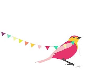 Bird art print - Come on spring - whimsical art print, Nursery art print, bird illustration, playroom decor, baby Nursery Decor, bird print,