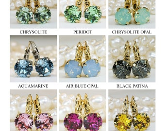 Bridesmaids Earrings Sale! Earrings Sale! Mix and Match! Set of 3 Swarovski Crystal earrings,Any 3 Pairs,Choose your colors,8mm single stone