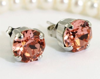 c85310e2d Pink Peach Stud Earrings,Coral 8mm Swarovski Crystals Single stone,Coral  wedding Bridesmaids Rose Peach post earrings,Silver,PEACHES,SE1