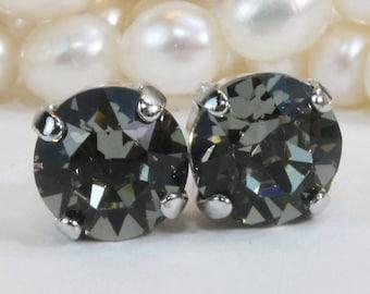 15d65c45e Grey Stud Earrings,Grey Swarovski Crystal Black Diamond Post earrings Grey  studs,Grey Bridesmaids earrings Grey 8mm,Silver,Black Diamond,SE1