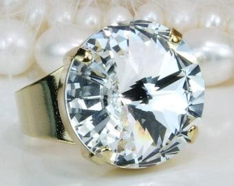 8cf29696d Clear Ring Swarovski Crystal Clear White Adjustable Cocktail Ring Bridal  Wedding Bridesmaids Statement Ring 18mm Rivoli,Gold,Crystal,GR47