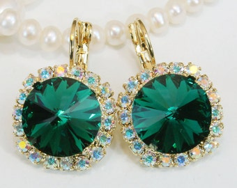 Emerald Earrings Swarovski Crystal Emerald Green Gold Drop AB Rhinestones Earrings Christmas Gift Gift For Her 14mm Halo,Gold,Emerald,GE110