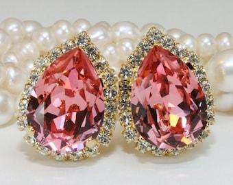 Coral Clip on Crystal Earrings Bridal Teardrop Pink Peach Swarovski Estate Gold Earrings Bridesmaids Clip Halo Earring,Gold,Rose Peach,GE124