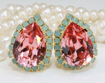 Mint Coral Clip on Earrings Mint Opal Swarovski Teardrop Pink Peach Estate Gold Coral Bridesmaids Clip Halo Earrings,Gold,Rose Peach,GE124