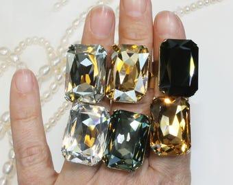 NEW Smokey Gray Glass Crystal Dress Cocktail SZ 7 Ring Rhinestone Gift