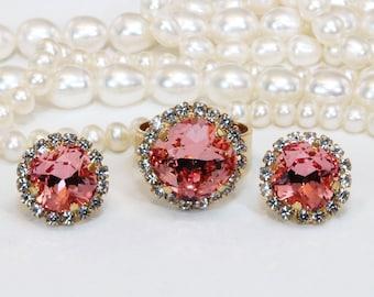 f4b69f3cc Coral Bridesmaids Gift Set Swarovski Crystal Coral Peach Pink Wedding  Jewelry Bridal Matching Set Cushion Square Cut,Gold,Rose Peach,GE115