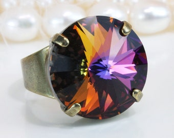 1fcaf1fed Rainbow Ring Swarovski Adjustable Colorful Multicolor Ring Bridal Wedding  Cocktail Bridesmaids Statement Ring 18mm Rivoli,Brass,Volcano,BR47