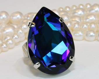 8c5a31279 Royal Blue Crystal Ring Bridal Oversize Teardrop Large Big Chunky  Adjustable Swarovski Cocktail Ring Wedding Jewelry,Silver,Heliotrope,SR61