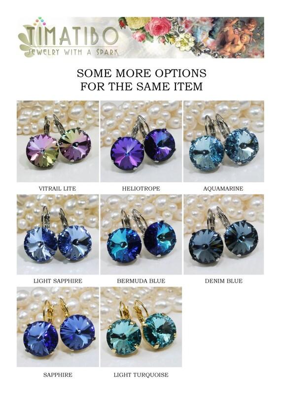Light Blue Earrings Powder Blue Drop earrings Blue Swarovski Crystal drop  earring Something Blue,14mm Swarovski,Light Sapphire,Silver,SE106