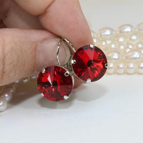 Rivoli criolla pendientes Hecho con Elementos Swarovski Cristal 14mm rojo real