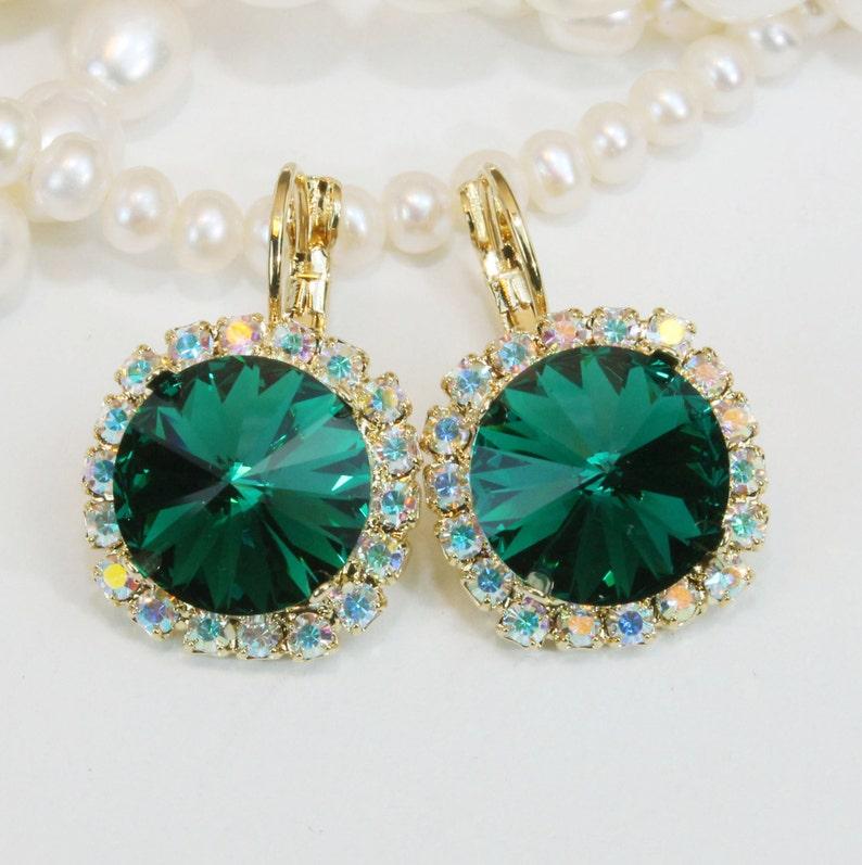 afa0ecbdc Emerald Earrings Swarovski Crystal Emerald Green Gold Drop AB   Etsy