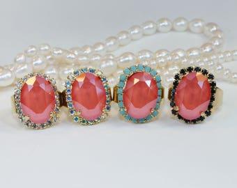 Coral Crystal Ring,Bridal Swarovski Adjustable Swarovski Salmon Orange Oval Ring,Coral Beach Wedding Bridesmaids Gift,Gold,Light Coral,GR39