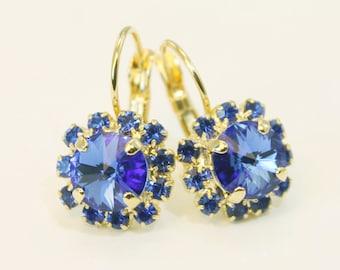 Sapphire Blue Earrings Royal Blue Wedding,Something Blue Royal Blue Gold Drop earrings  swarovski Crystals rhinestones Gold,Sapphire,GE96