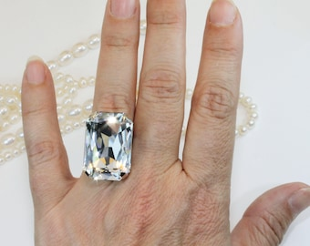 Clear Statement Ring Swarovski Crystal Oversize Adjustable Bridal Clear White Ring Statement rectangle Wedding Jewelry,Silver,Clear,GR59