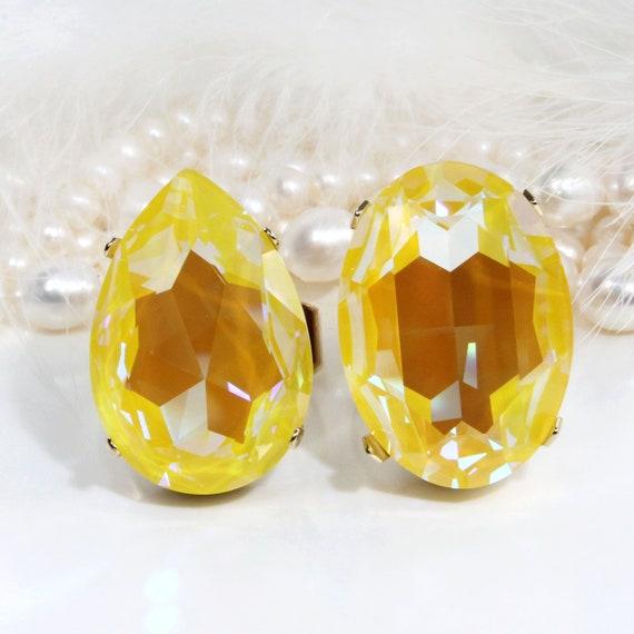 Yellow Ring Canary Yellow Big Stone Swarovski Crystal Cocktail Adjustable Statement Oversize Bridal Yellow Wedding,Sunshine Delite,Gold,GR62